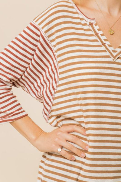 HEM AND THREAD I Women's Top Button Detailed Stripe Mixed Dolman Top || David's Clothing