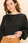 HYFVE INC. Women's Sweater CHARCOAL / S Balloon Sleeve Crop Sweater || David's Clothing FL20H455