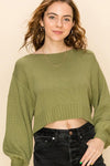 HYFVE INC. Women's Sweater OLIVE / S Balloon Sleeve Crop Sweater || David's Clothing FL20H455