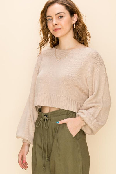 HYFVE INC. Women's Sweater SAND / S Balloon Sleeve Crop Sweater || David's Clothing FL20H455