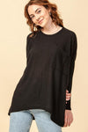 HYFVE INC. Women's Top BLACK / S Oversized Waffle Top With Pocket Detail || David's Clothing HF21C468