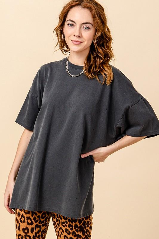 HYFVE INC. Women's Top Distressed Oversized T Shirt || David's Clothing