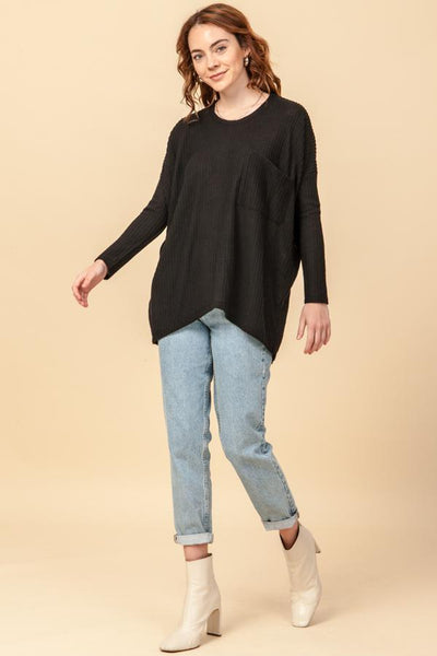 HYFVE INC. Women's Top Oversized Waffle Top With Pocket Detail || David's Clothing