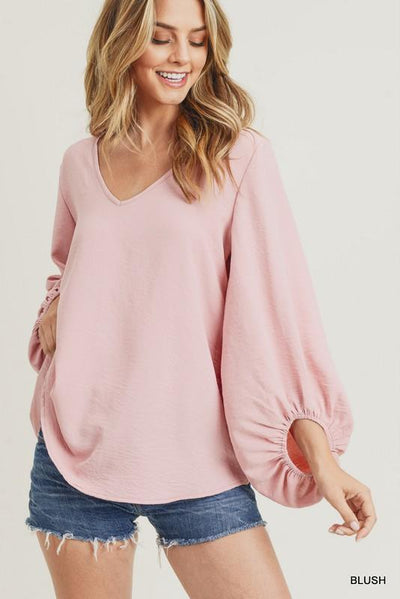 JODIFL 22-Women's Woven Top BLUSH / S Jodifl Solid Top With Draped Bubble Sleeves || David's Clothing P7049