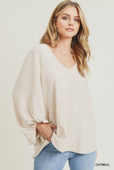 JODIFL 22-Women's Woven Top Jodifl Solid Top With Draped Bubble Sleeves || David's Clothing