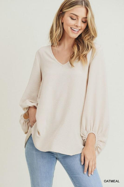 JODIFL 22-Women's Woven Top OATMEAL / S Jodifl Solid Top With Draped Bubble Sleeves || David's Clothing P7049