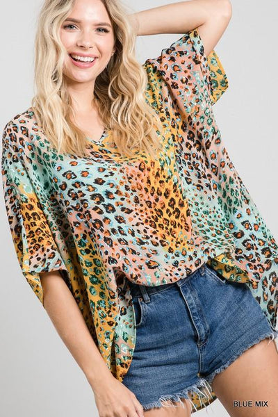 JODIFL top BLUE / S Colorful Leopard Print V-Neck Boxy Top || David's Clothing A78965