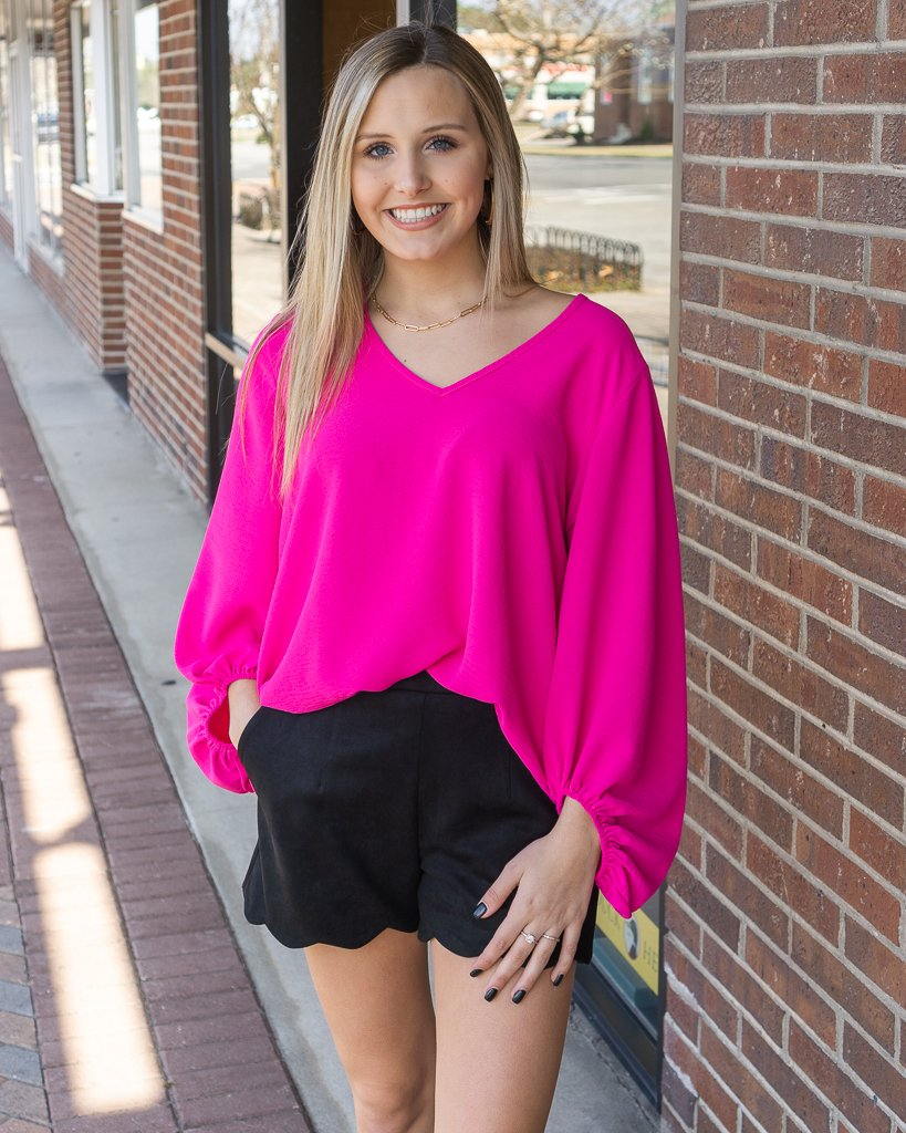 JODIFL Women's Top HOT PINK / S Jodifl Solid Top With Draped Bubble Sleeves || David's Clothing P7049