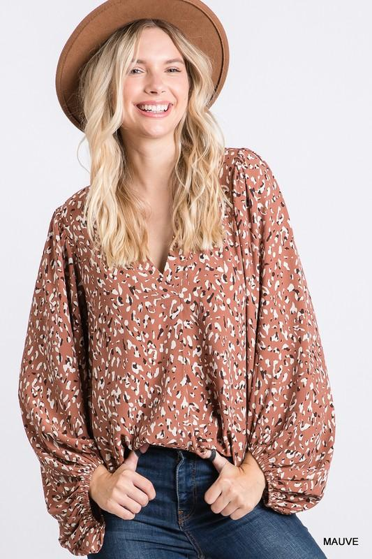 JODIFL Women's Top Leopard Print Bubble Sleeve Top || David's Clothing