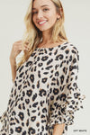 JODIFL Women's Top Leopard Print Pleated Ruffle Sleeve Top || David's Clothing