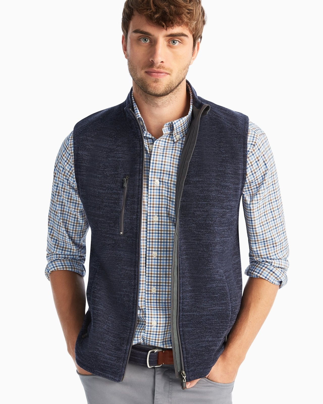 JOHNNIE O Men's Outerwear Johnnie-O Tahoe 2-Way Zip Front Fleece Vest || David's Clothing