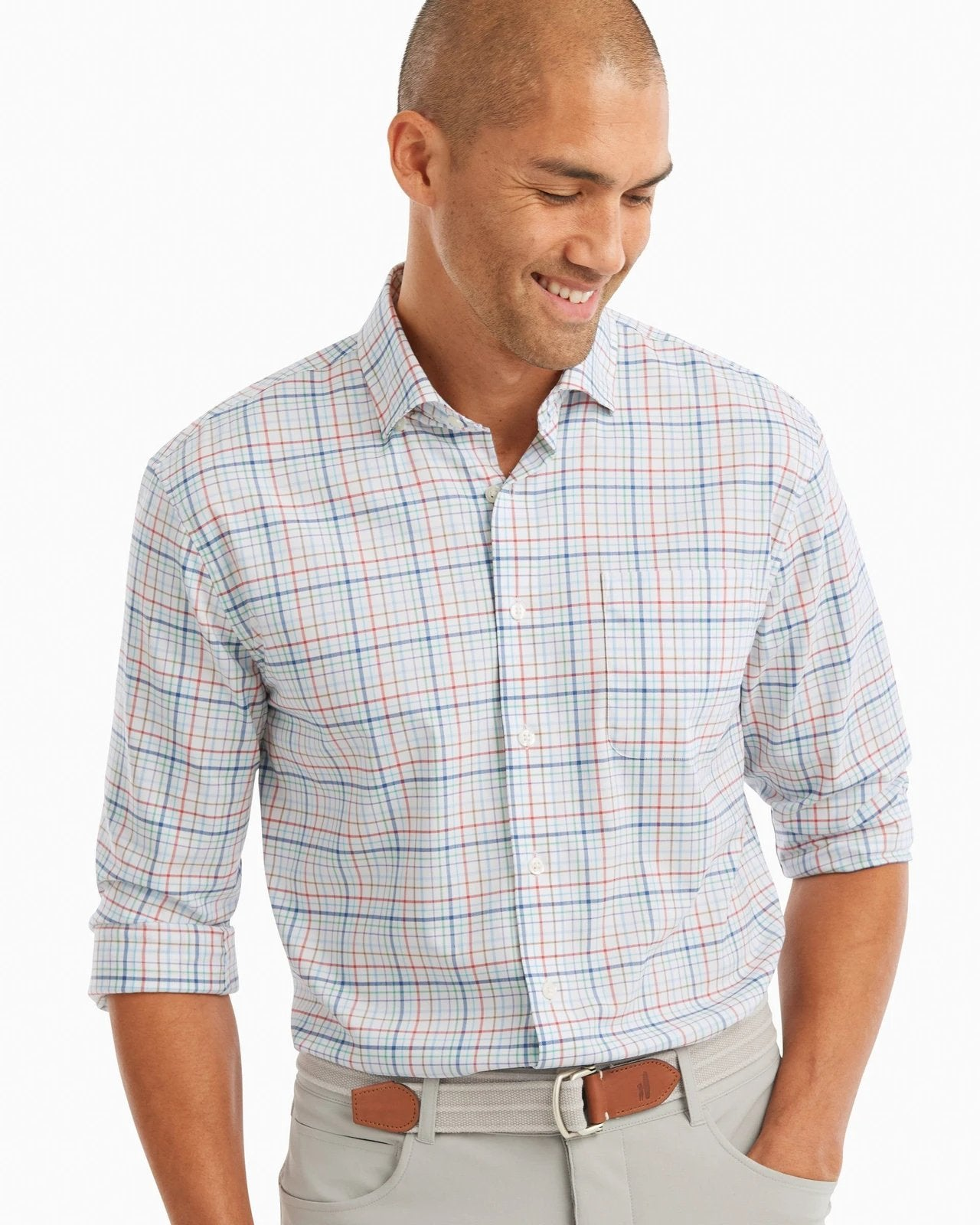 JOHNNIE O Men's Sport Shirt Johnnie-O Tweedy Prep-Formance Button Down Shirt || David's Clothing