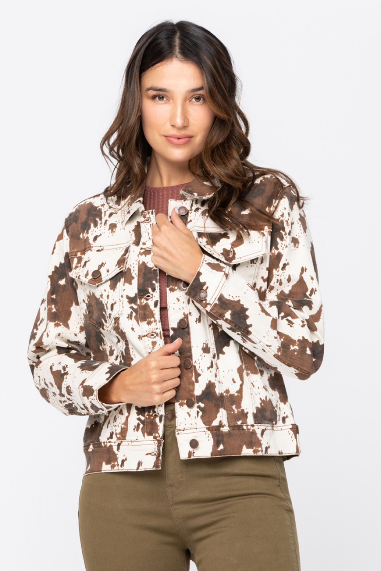 JUDY BLUE Women's Outerwear Judy Blue Cow Print Jacket || David's Clothing