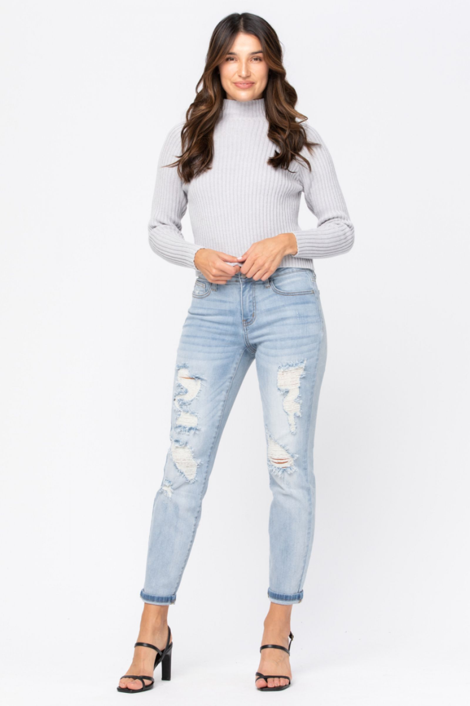 JUDY BLUE Women's Pants Judy Blue Destroyed Mid-Rise Boyfriend || David's Clothing