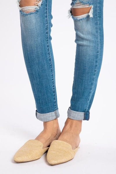 KANCAN USA Women's Pants High Ripped Knees Ankle Skinny || David's Clothing