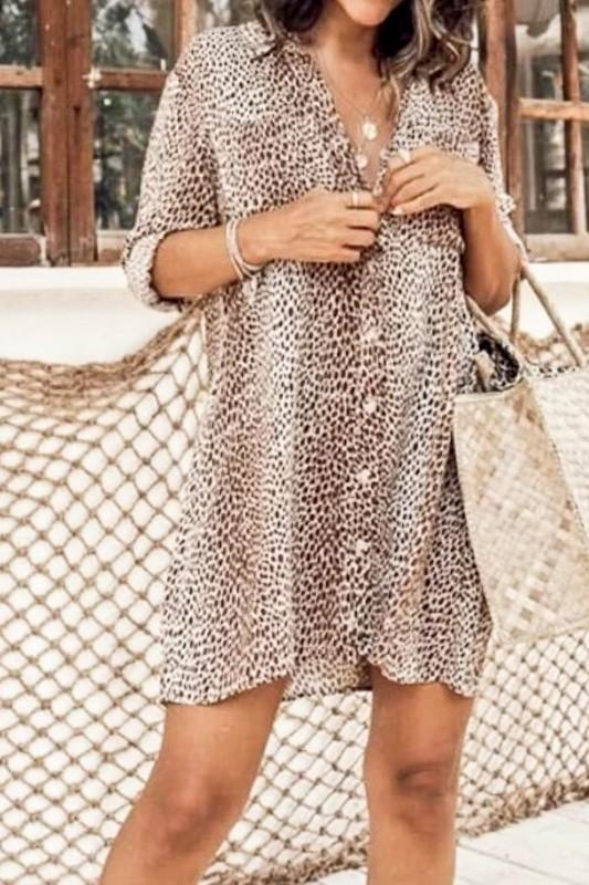 MAZIK Women's Dress Leopard Printed Button Down Loose Fit Shirt Dress || David's Clothing