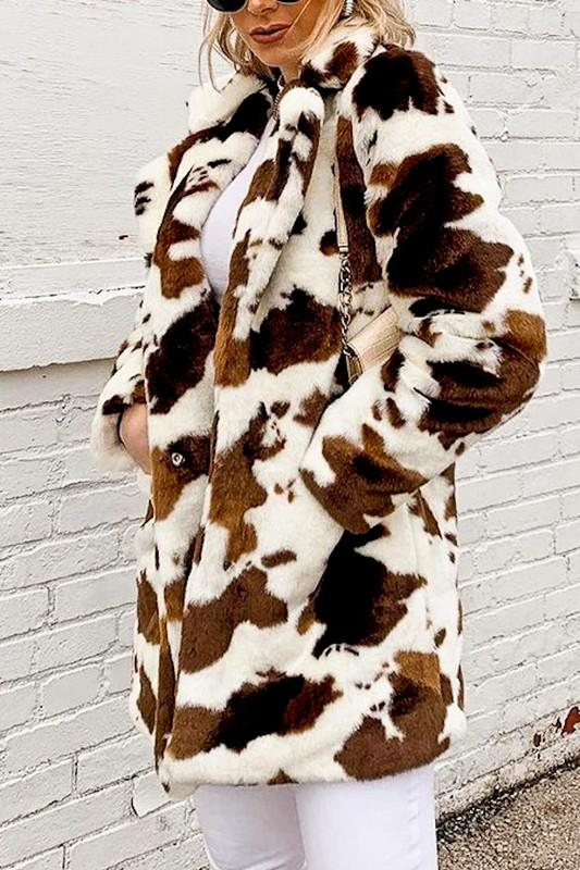 MAZIK Women's Outerwear Cow Print Faux Fur Coat || David's Clothing