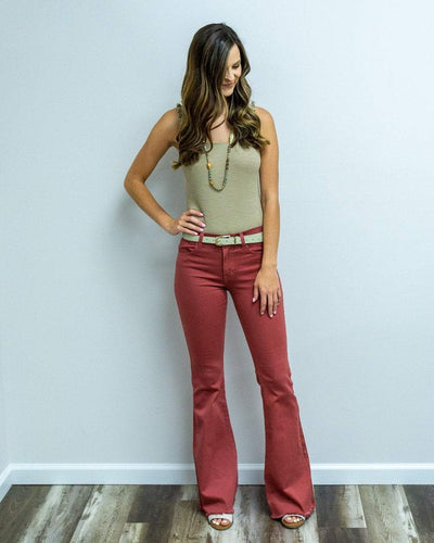 O2 Denim Women's Pants O2 Denim Flare Denim Jeans with Pockets - Mauve || David's Clothing