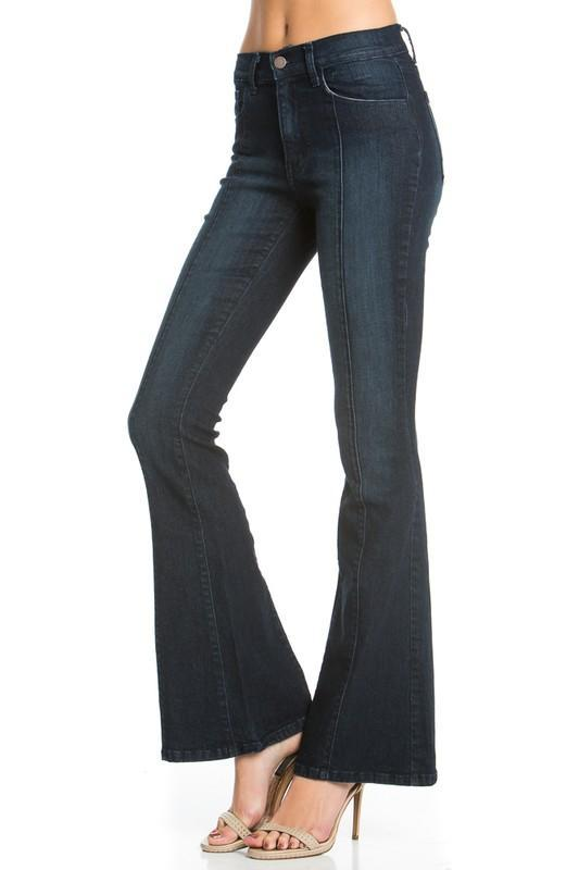 O2 Denim Women's Pants DK DENIM / 24 O2 Denim Front Seam Flare Denim Jeans - Dark Wash || David's Clothing PF3023