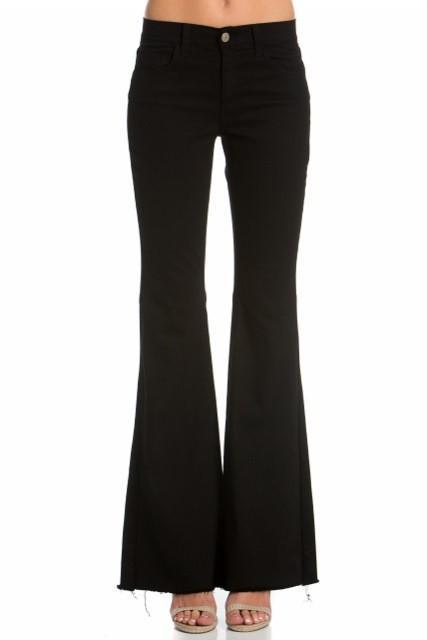 O2 Denim Women's Pants O2 Denim Mid Rise Flare - Black || David's Clothing