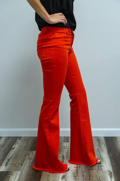 O2 Denim Women's Pants O2 Denim Mid Rise Flare - Red || David's Clothing