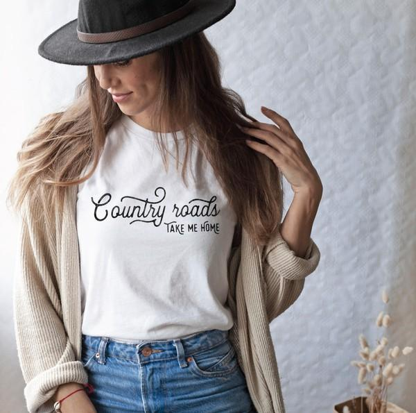 Oat Collective Women's Tees Country Road Take Me Home Graphic T-Shirt || David's Clothing