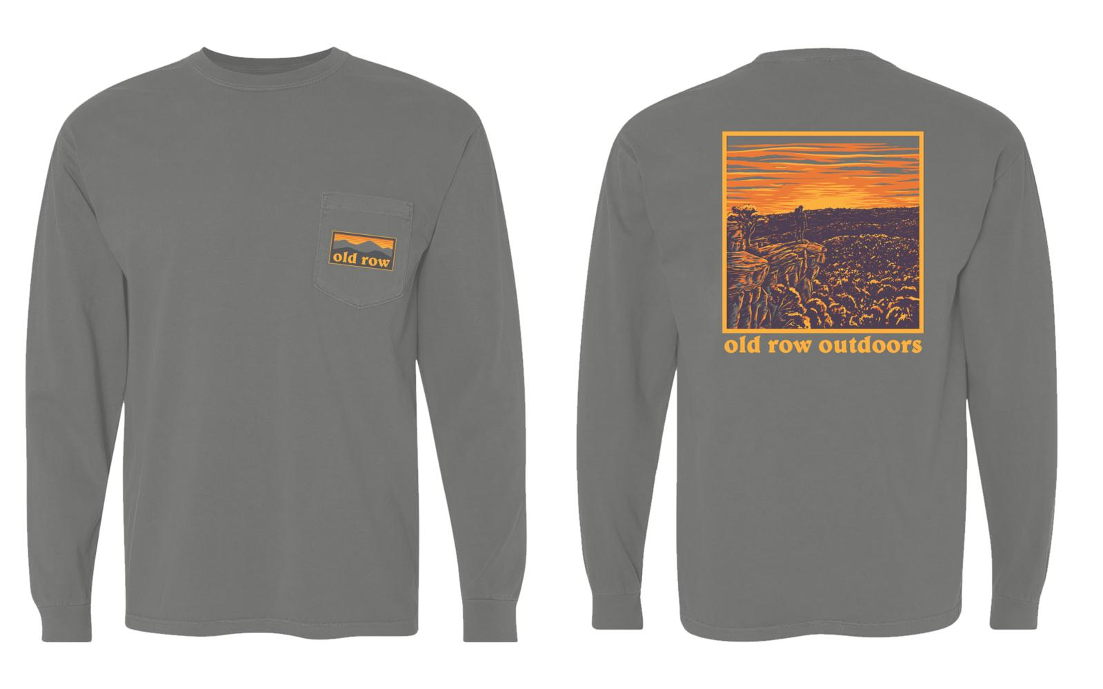 OLD ROW Men's Tees BERRY / S Old Row The Sunrise Long Sleeve Pocket Tee || David's Clothing WROW1490B