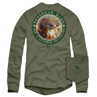 OVER UNDER CLOTHING Men's Tees Over Under Trained Retriever LS T-Shirt Driftwood || David's Clothing