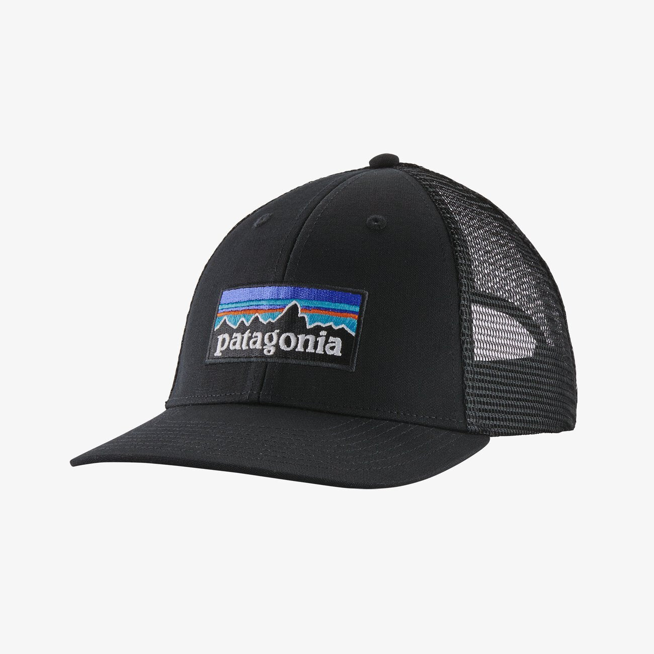 PATAGONIA Men's Hats BLACK Patagonia P-6 Logo LoPro Trucker Hat || David's Clothing 38283BLK
