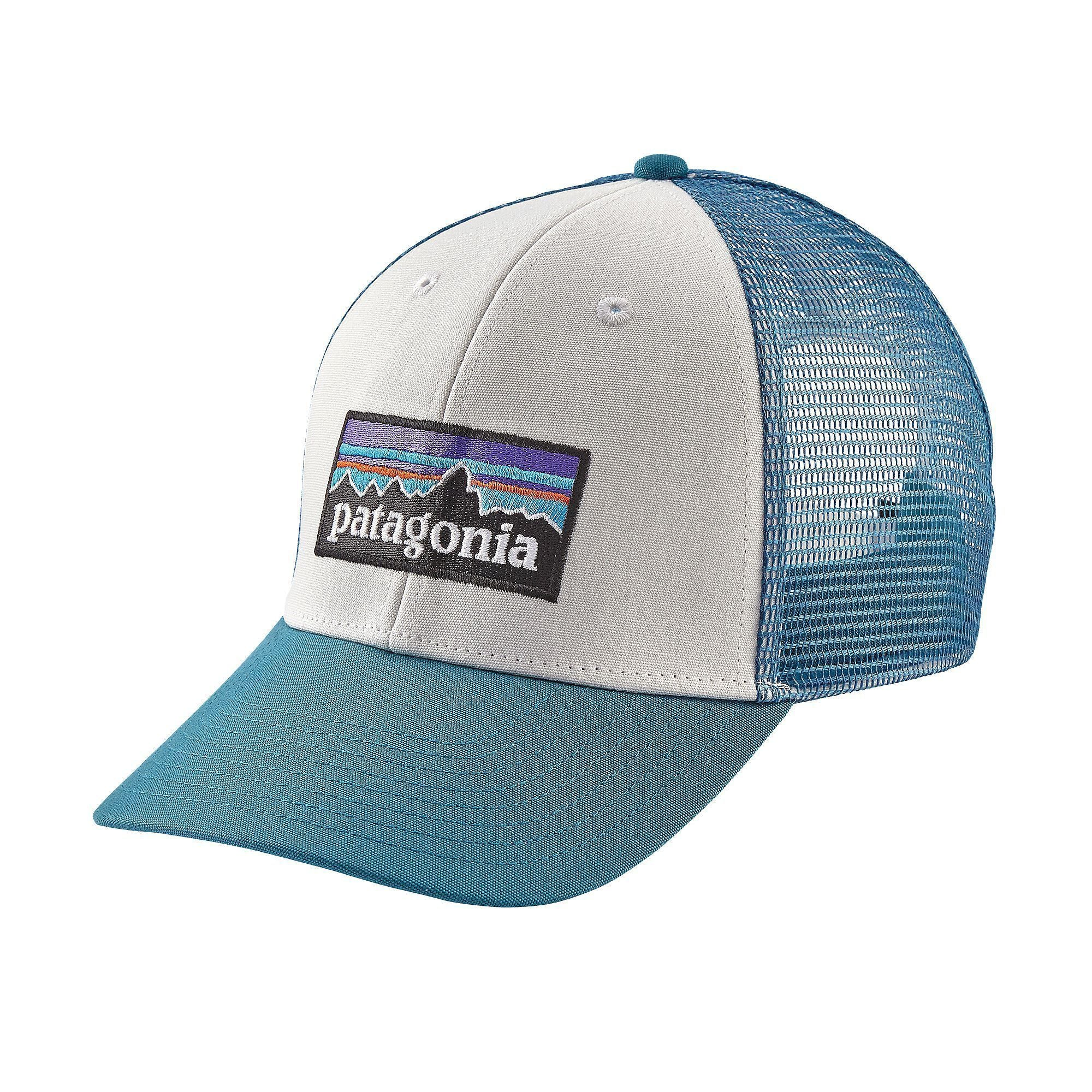 PATAGONIA Men's Hats WHITE FILTER BLUE / Adult Patagonia P-6 LoPro Hat - White w/Filter Blue || David's Clothing 38016WFTB