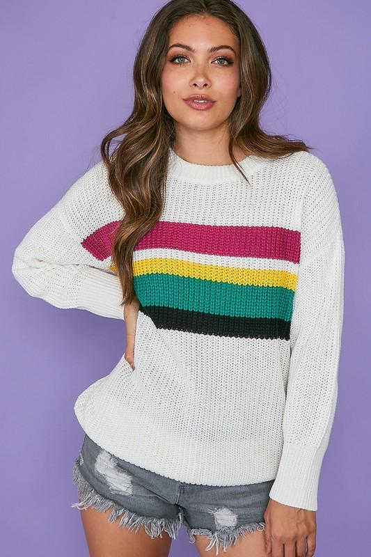 PEACH LOVE Women's Sweater Peach Love Color Block Sweater Top || David's Clothing