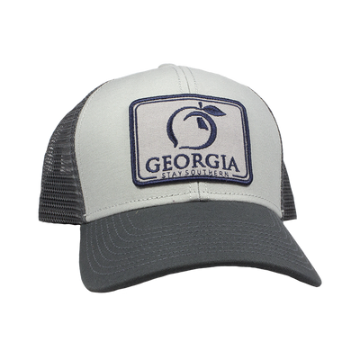 PEACH STATE PRIDE Men's Hats ASH GREY / one size Peach State Pride Georgia Patch Trucker Hat || David's Clothing H415-CHR-2