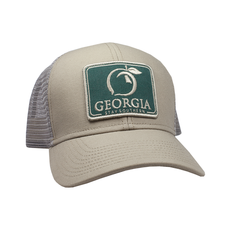 PEACH STATE PRIDE Men's Hats ASH GREY & RED Peach State Pride Georgia Patch Trucker Hat || David's Clothing H415-GRD