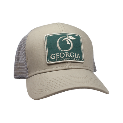 PEACH STATE PRIDE Men's Hats KHAKI & GREEN / one size Peach State Pride Georgia Patch Trucker Hat || David's Clothing H415-STN-2