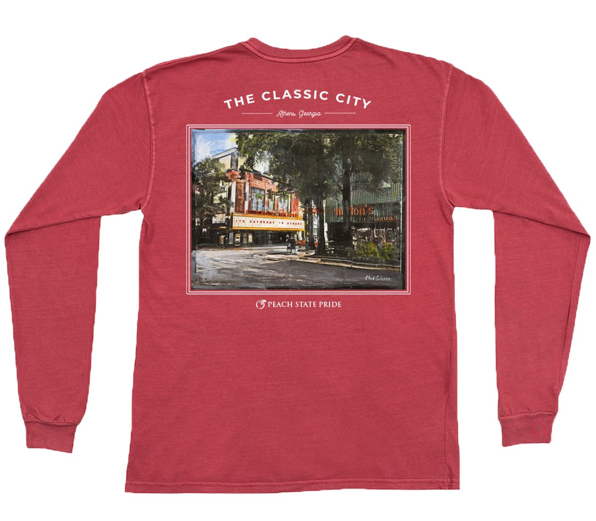 PEACH STATE PRIDE Men's Tees Peach State Pride The Clayton Street Long Sleeve Pocket Tee || David's Clothing