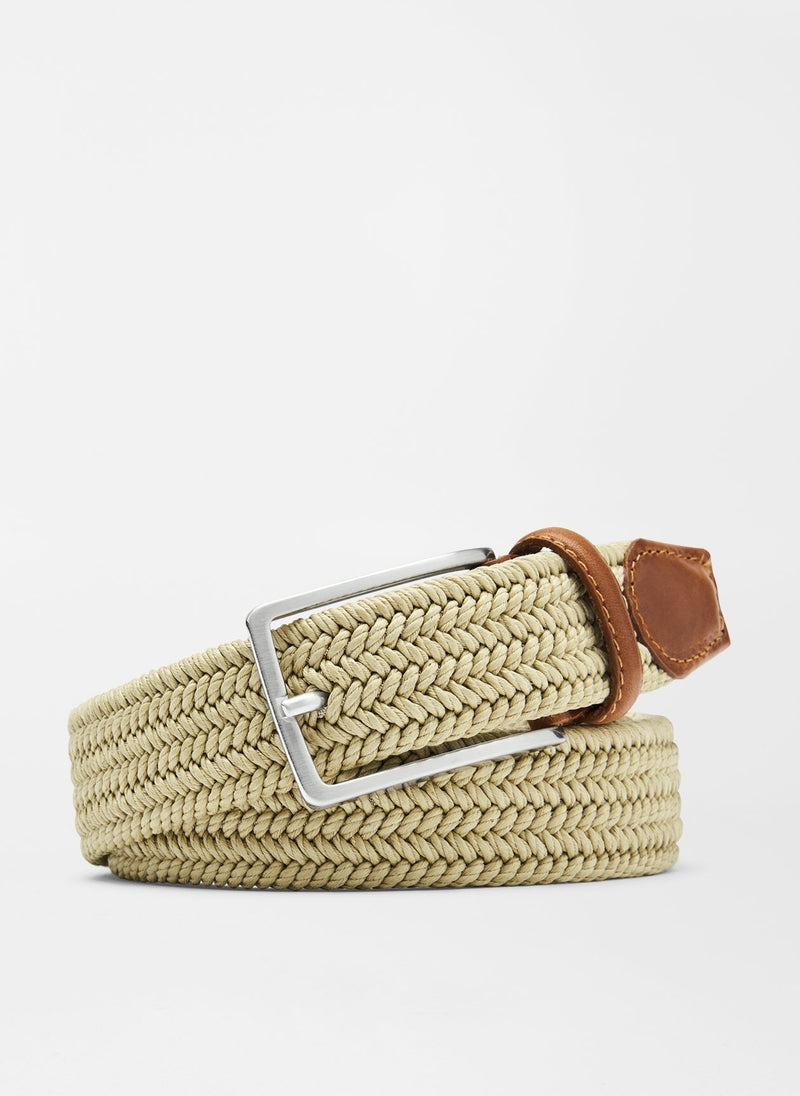 PETER MILLAR Men's Belts Peter Millar Waxed Braided Belt - Khaki || David's Clothing