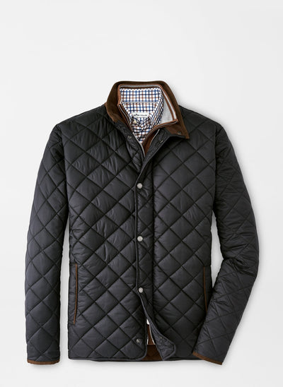 PETER MILLAR Men's Outerwear BLACK / M Peter Millar Suffolk Quilted Travel Coat || David's Clothing MF20Z12B