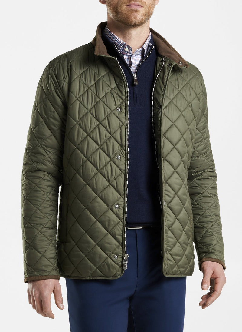PETER MILLAR Men's Outerwear OLIVE / S Peter Millar Suffolk Quilted Travel Coat || David's Clothing MF20Z12O