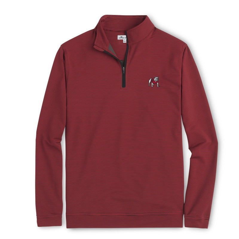 PETER MILLAR Men's Pullover Peter Millar UGA Mini-Stripe 1/4 Zip Pullover Red/White | David's