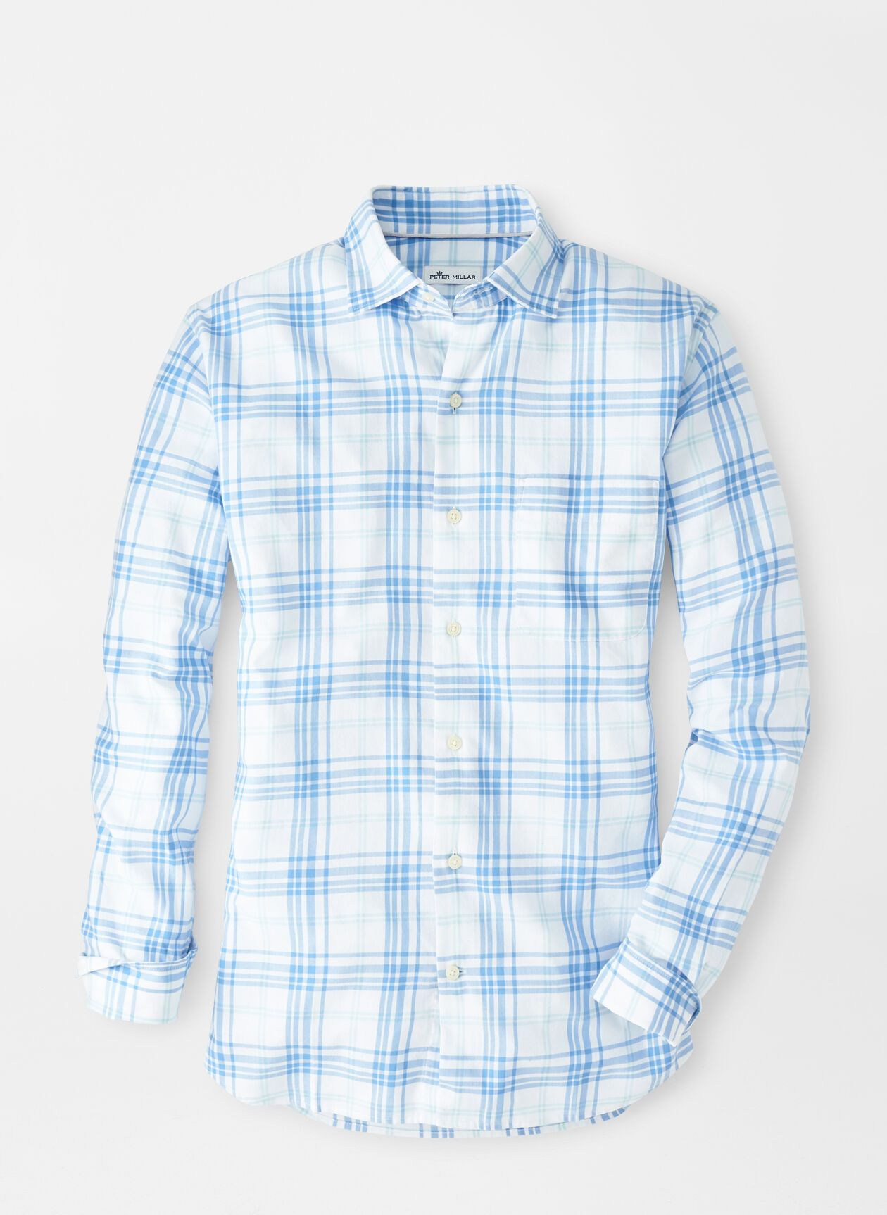 PETER MILLAR Men's Sport Shirt Peter Millar Seawater Cotton Sport Shirt || David's Clothing