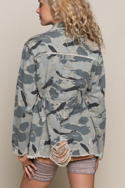 POL CLOTHING Women's Outerwear Sweet Camo Twill Jacket || David's Clothing