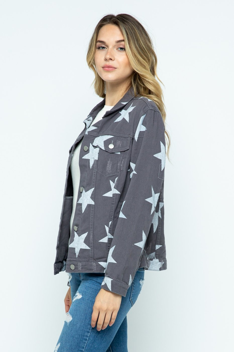 POLAGRAM Women Jackets Star Distressed Jacket || David's Clothing