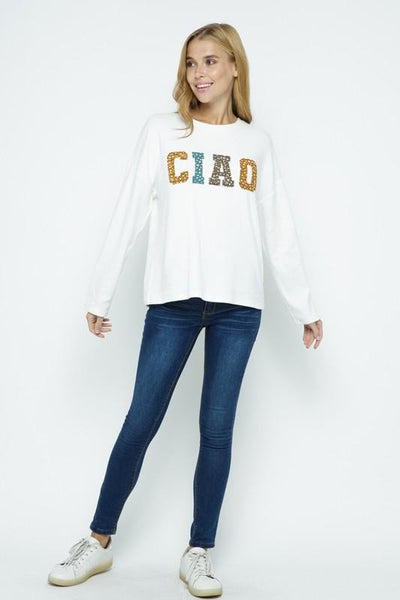 POLAGRAM Women's Top Ciao Brushed Hacci Long Sleeve Top || David's Clothing