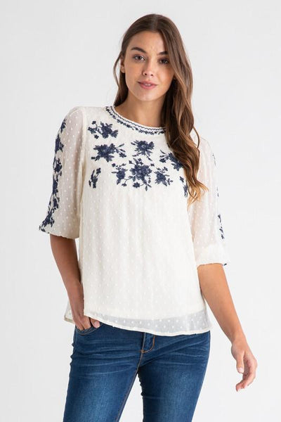 POLAGRAM Women's Top Embroidered Swiss Dot Chiffon Blouse || David's Clothing