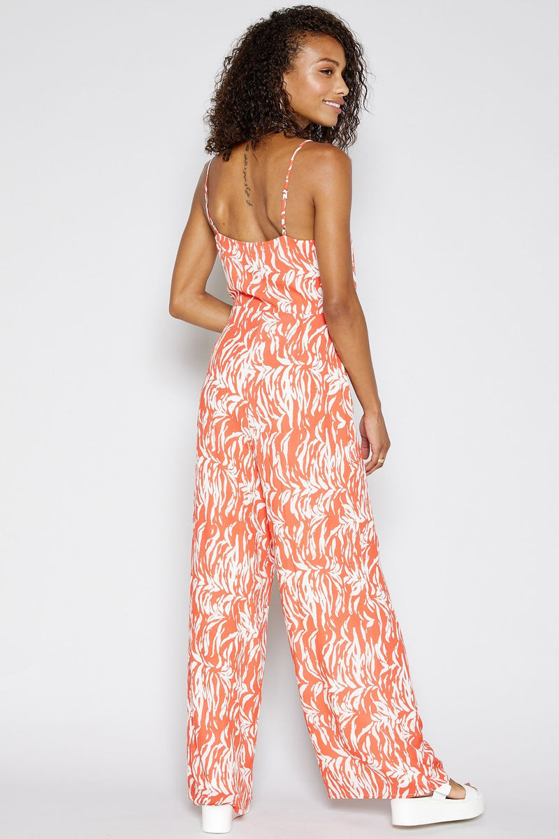 SADIE AND SAGE Women's Jumpsuit En Fuego Jumpsuit - Electric Coral || David's Clothing