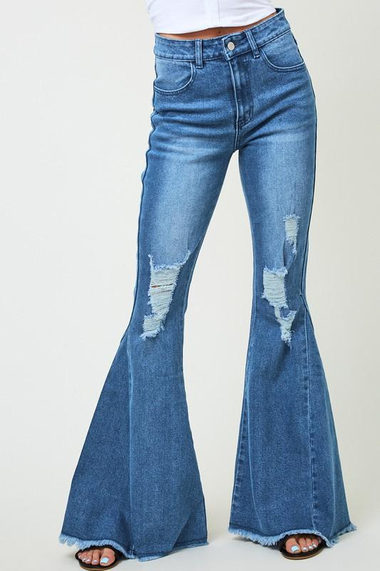 SAINTS AND HEART Women's Pants Saints And Hearts Distressed Denim Flares || David's Clothing