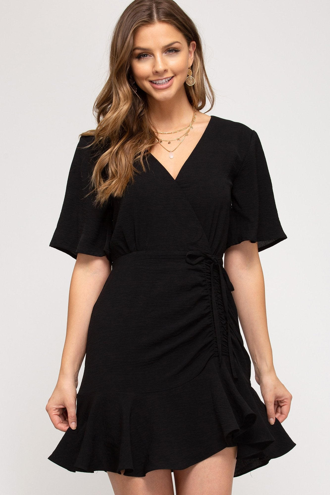 SHE AND SKY Women's Dress Flutter Short Sleeve Side Rouching Dress || David's Clothing