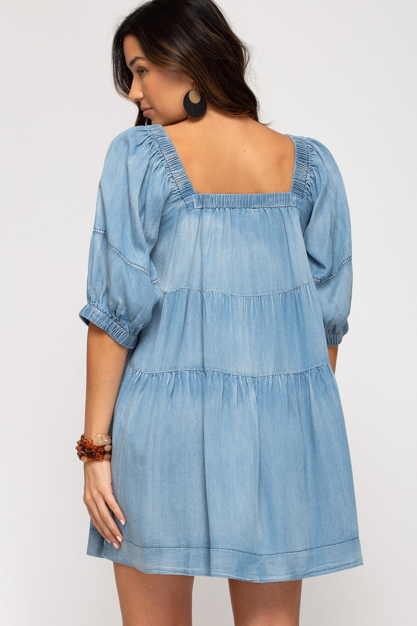 SHE AND SKY Women's Dress Half Sleeve Washed Denim Dress || David's Clothing