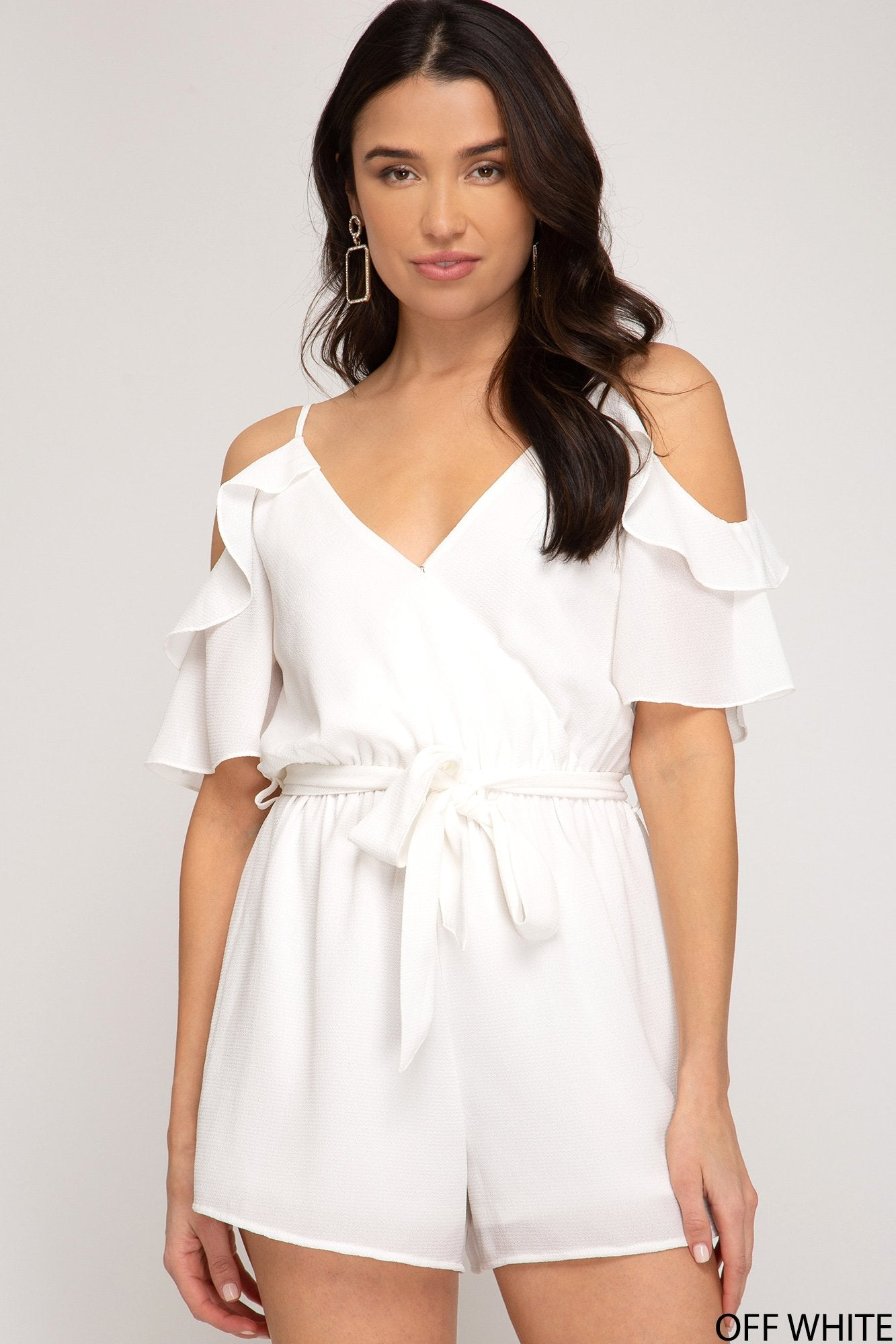 SHE AND SKY Women's Romper OFFWHITE / S Ruffled Cold Shoulder Half Sleeve Romper || David's Clothing SS3870