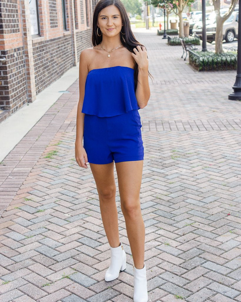 SHE AND SKY Women's Romper Strapless Layered Romper With Pockets || David's Clothing